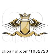 Clipart Crowned Winged Shield And Banner 3 Royalty Free Vector Illustration