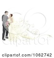 Clipart Wedding Couple With A Floral Train Royalty Free Vector Illustration by AtStockIllustration