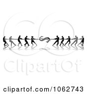 Clipart Silhouetted Financial Tug Of War Business Teams Royalty Free Vector Illustration by AtStockIllustration
