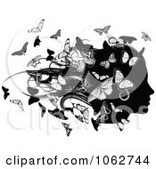 Clipart Silhouetted Female Head With Butterflies Royalty Free Vector Illustration