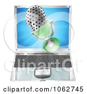 Clipart 3d Mic Over A Laptop Royalty Free Vector Illustration