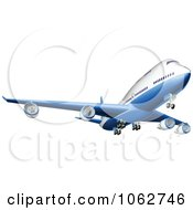 Clipart 3d Blue And White Airbus Royalty Free Vector Illustration