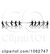 Clipart Silhouetted Tug Of War Business Teams Royalty Free Vector Illustration