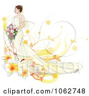 Clipart Gorgeous Bride With Floral Elements Royalty Free Vector Illustration