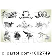 Clipart Tattoo Designs And Gun Digital Collage 2 Royalty Free Vector Illustration