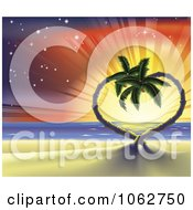Clipart Sunset Tropical Beach Scene Of Heart Palm Trees Royalty Free Vector Illustration by AtStockIllustration