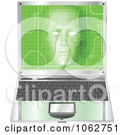 Clipart 3d Virtual Face Over A Laptop Royalty Free Vector Illustration by AtStockIllustration