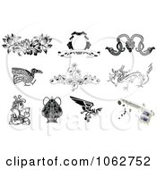 Clipart Tattoo Designs And Gun Digital Collage 1 Royalty Free Vector Illustration