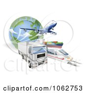 Clipart 3d Big Rig Train Cargo Ship And Airplane With A Globe Royalty Free Vector Illustration by AtStockIllustration #COLLC1062753-0021
