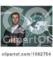 Clipart 3d Businessman And World Map Royalty Free Vector Illustration by AtStockIllustration