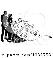 Clipart Silhouetted Wedding Couple With A Floral Train Royalty Free Vector Illustration