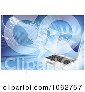 Clipart 3d Laptop And American Atlas Royalty Free Vector Illustration
