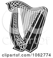 Clipart Harp Black And White Royalty Free Vector Illustration