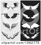 Clipart Wings Digital Collage Royalty Free Vector Illustration by Any Vector