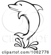 Clipart Splashing Dolphin Outline Royalty Free Vector Illustration