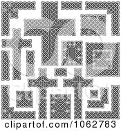 Clipart Celtic Borders And Crosses Digital Collage Royalty Free Vector Illustration