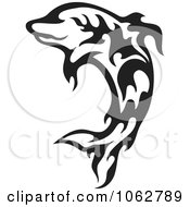 Clipart Leaping Tribal Dolphin Black And White Royalty Free Vector Illustration by Any Vector