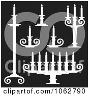 Clipart Candle Holders Digital Collage Royalty Free Vector Illustration