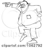 Clipart Outlined Mad Businessman Pointing Royalty Free Vector Illustration
