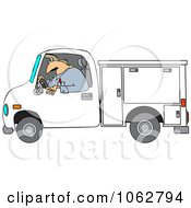 Clipart Worker Driving A Utility Truck Royalty Free Vector Illustration by djart