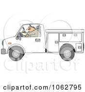 Clipart Worker Writing In A Utility Truck Royalty Free Vector Illustration by djart