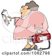 Woman Reading Extinguisher Manual