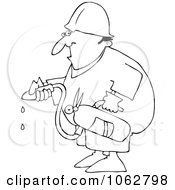 Clipart Outlined Worker Using An Extinguisher Royalty Free Vector Illustration by djart