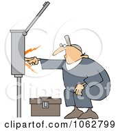 Clipart Electrician Touching A Power Box Royalty Free Vector Illustration