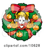 Clipart Picture Of A Paint Brush Mascot Cartoon Character In The Center Of A Christmas Wreath