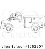 Clipart Outlined Worker Writing In A Utility Truck Royalty Free Vector Illustration by djart