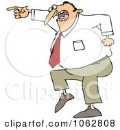 Clipart Mad Businessman Pointing Royalty Free Vector Illustration