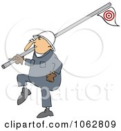 Clipart Worker Carrying A Pipe Royalty Free Vector Illustration by djart