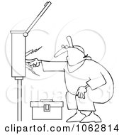 Clipart Outlined Electrician Touching A Power Box Royalty Free Vector Illustration by djart