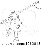 Clipart Outlined Worker Carrying A Pipe Royalty Free Vector Illustration by djart