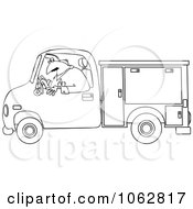 Clipart Outlined Worker Driving A Utility Truck Royalty Free Vector Illustration by djart