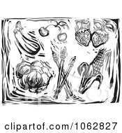 Clipart Woodcut Styled Produce Black And White Royalty Free Vector Illustration