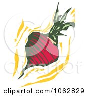Clipart Woodcut Styled Turnip Or Radish Royalty Free Vector Illustration