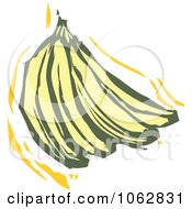 Clipart Woodcut Styled Bananas Royalty Free Vector Illustration by xunantunich