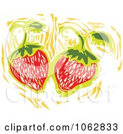 Clipart Woodcut Styled Strawberries Royalty Free Vector Illustration by xunantunich