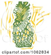 Clipart Woodcut Styled Pineapple Royalty Free Vector Illustration by xunantunich