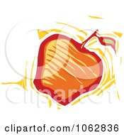 Clipart Woodcut Styled Apple Royalty Free Vector Illustration by xunantunich