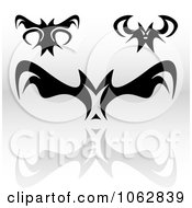 Clipart Gothic Tribal Bats Digital Collage Royalty Free Illustration