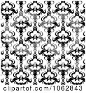 Clipart Seamless Damask Black And White Background Royalty Free Illustration by Arena Creative