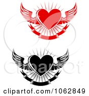 Clipart Winged Hearts Digital Collage 1 Royalty Free Vector Illustration