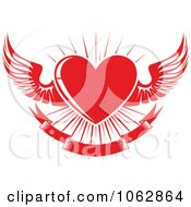 Clipart Red Winged Heart And Banner Royalty Free Vector Illustration