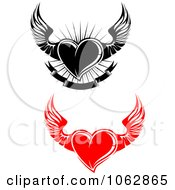 Clipart Winged Hearts Digital Collage 2 Royalty Free Vector Illustration
