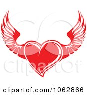 Clipart Red Winged Heart Royalty Free Vector Illustration