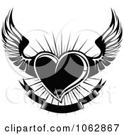 Clipart Black Winged Heart And Banner 2 Royalty Free Vector Illustration