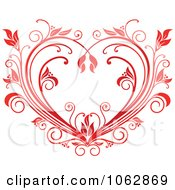 Clipart Floral Red Heart 1 Royalty Free Vector Illustration