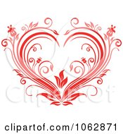Clipart Floral Red Heart 2 Royalty Free Vector Illustration